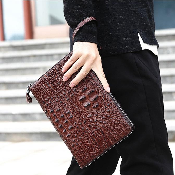 Túi đựng iPad cầm tay da thật nhập khẩu vân cá sấu TIC9-18