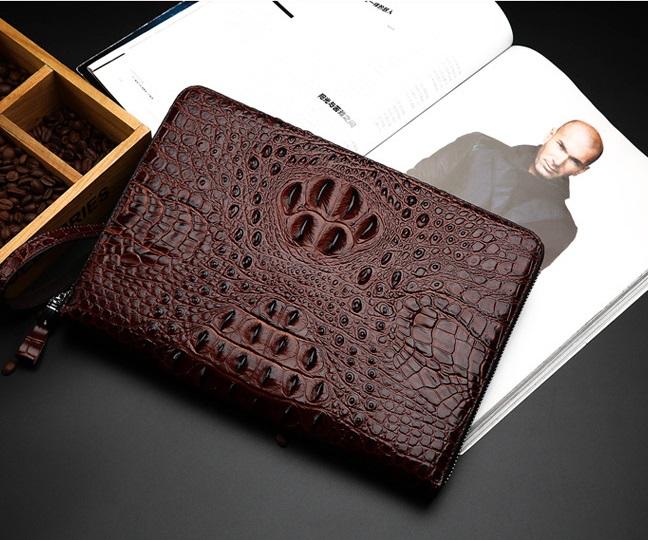 Túi đựng iPad cầm tay da thật nhập khẩu vân cá sấu TIC9-12