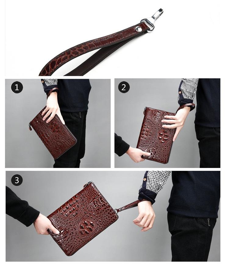 Túi đựng iPad cầm tay da thật nhập khẩu vân cá sấu TIC9-14