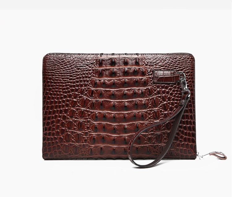 Túi đựng iPad cầm tay da thật nhập khẩu vân cá sấu TIC9-16