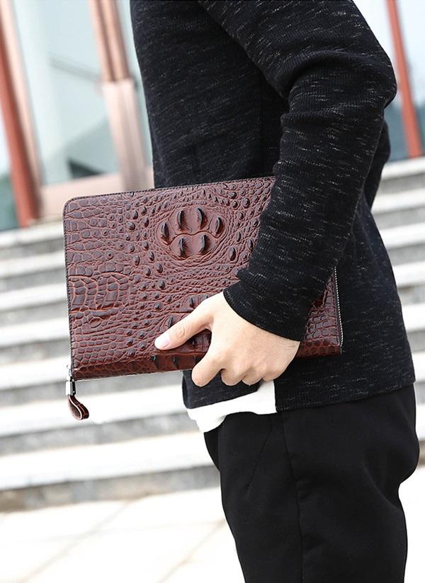 Túi đựng iPad cầm tay da thật nhập khẩu vân cá sấu TIC9-1