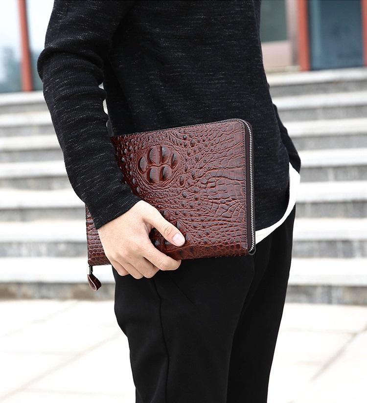 Túi đựng iPad cầm tay da thật nhập khẩu vân cá sấu TIC9-2