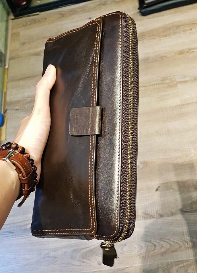 ví da cầm tay đẹp SCL79 Brown