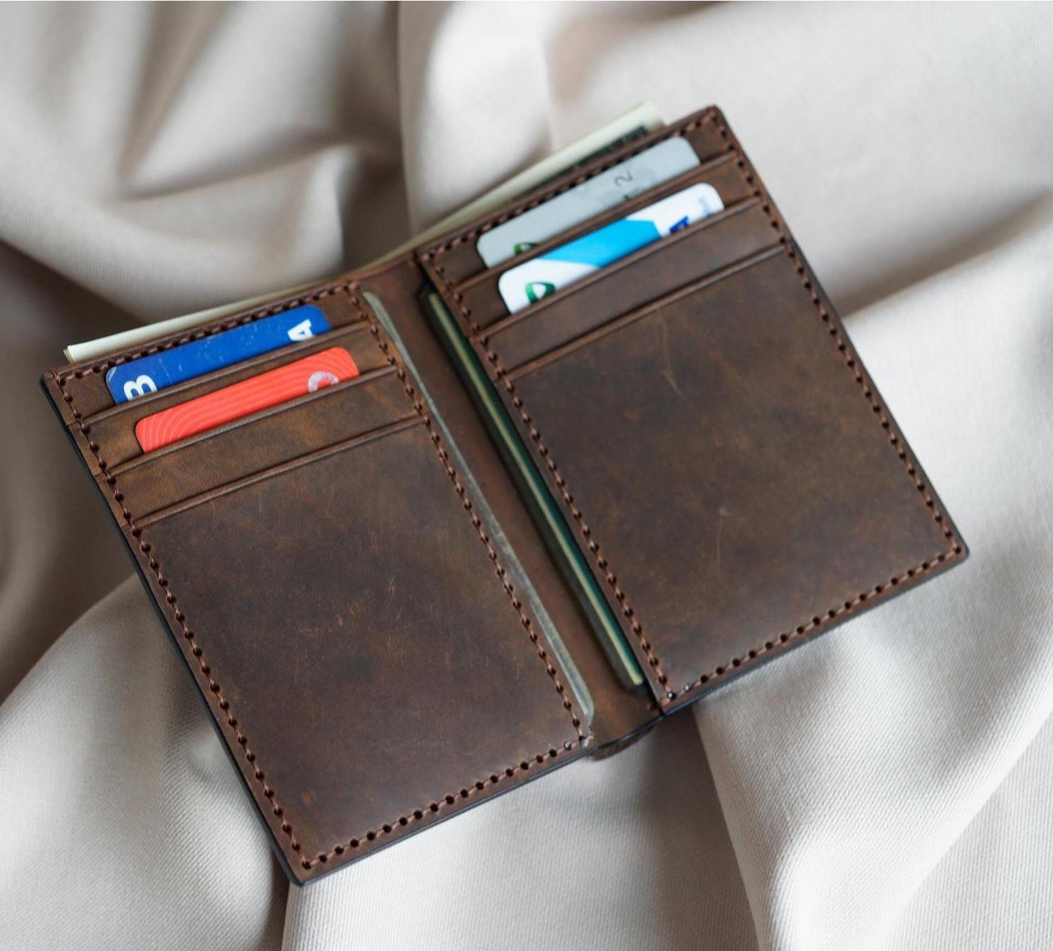 bóp da nam kiểu đứng handmade VDH5