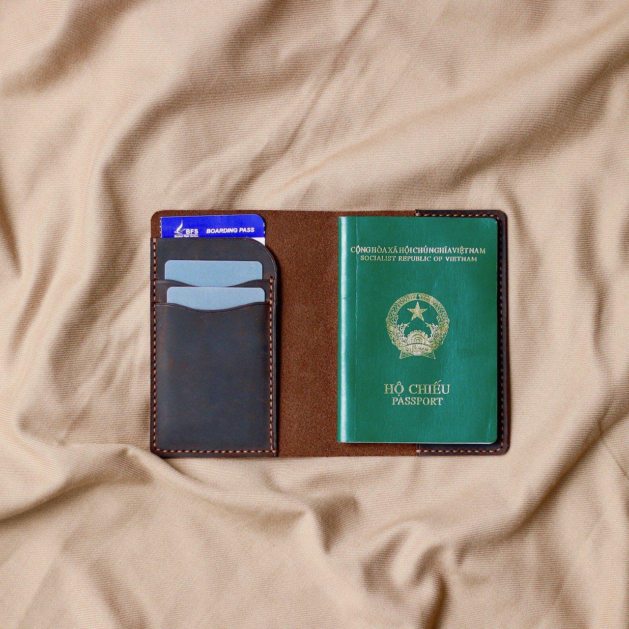 Ví da đựng passport handmade