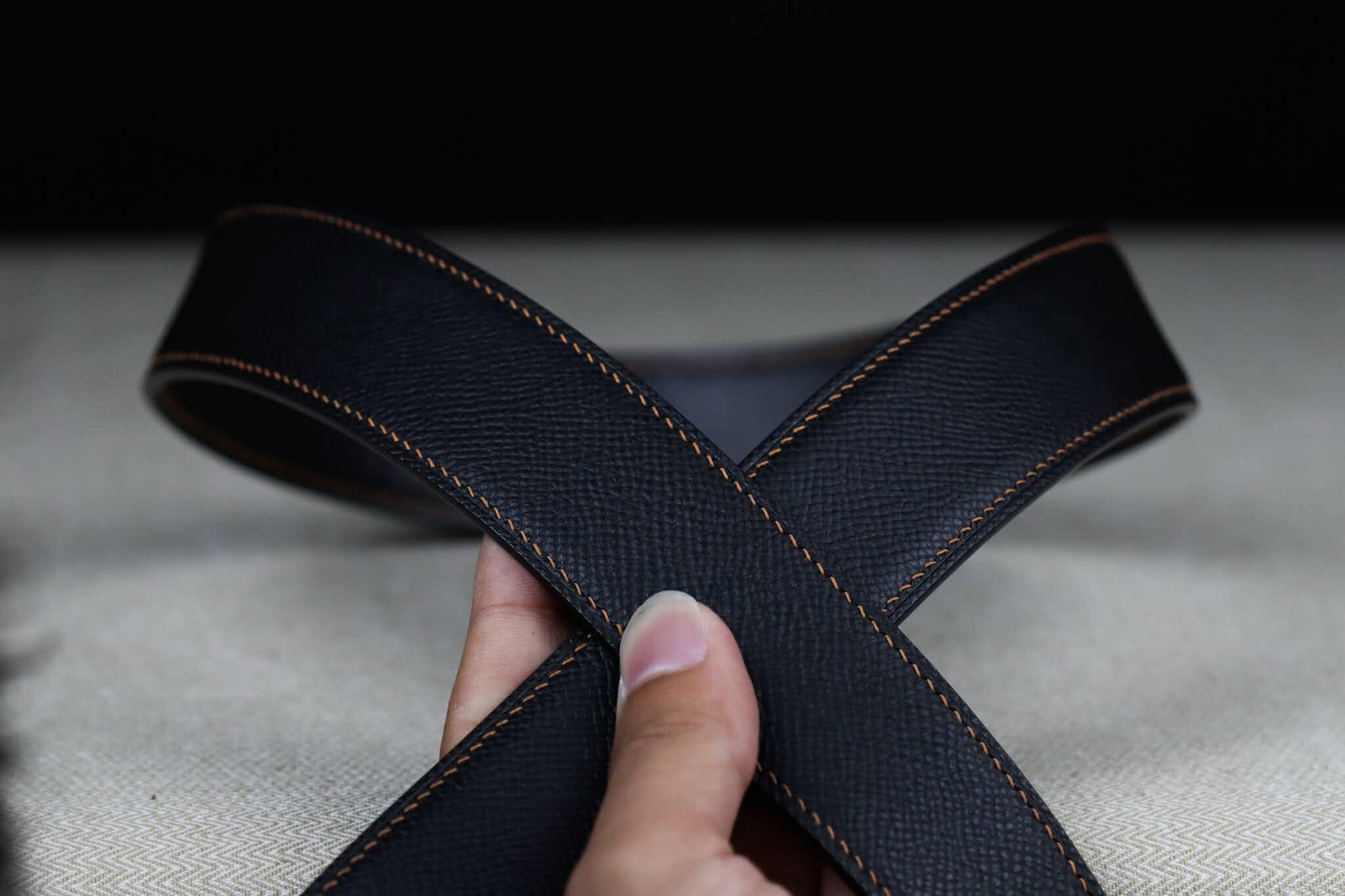 dây thắt lưng nam da bò epsom khâu tay