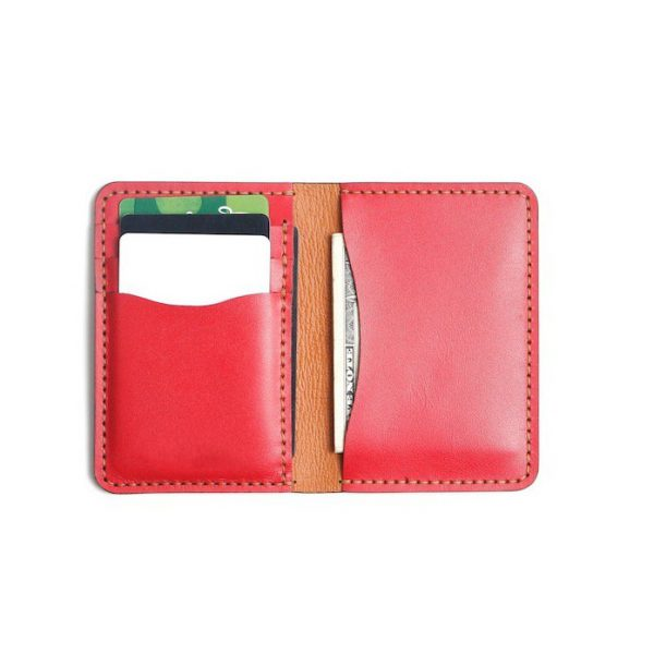 Bóp Da Mini Phiên Bản Unisex Da Bò Sáp Khâu Thủ Công MST1 Red