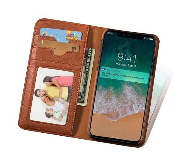 Bao da iPhone X kiêm ví cầm tay thời trang da thật OVX10