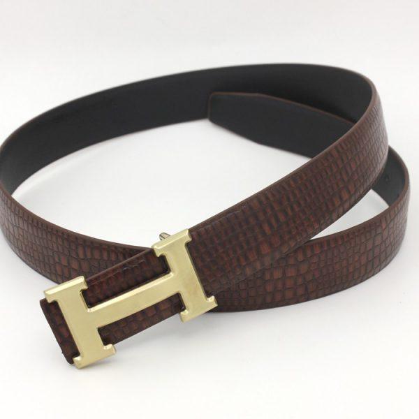 Thắt lưng nam thời trang mặt chữ H gold Brown