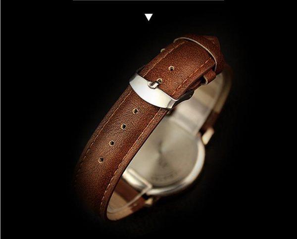 Đồng hồ nam dây da thời trang hàn quốc yazole 368 Gold