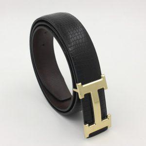 Thắt lưng nam thời trang hàng hiệu mặt chữ H Black