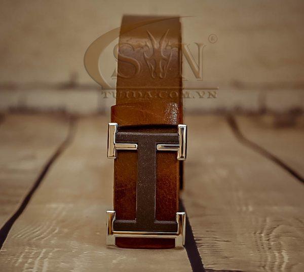 Nịt bụng nam thời trang khóa chữ H Crom dây da bò nhập Italy STH10