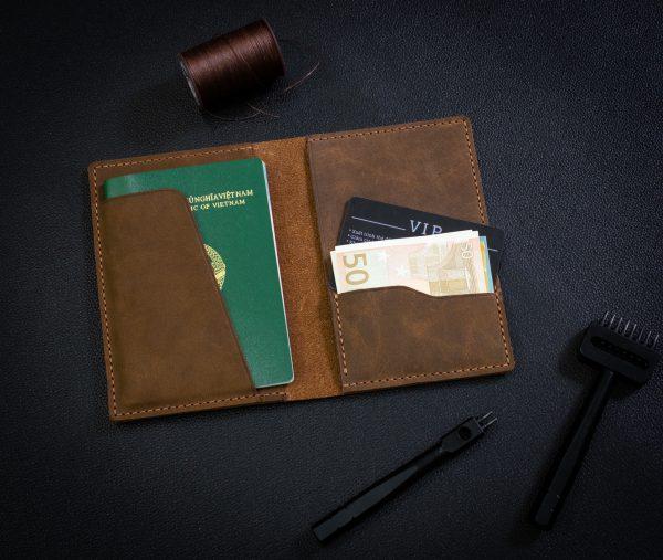 Bao Da Đựng Passport Khâu Tay Thủ Công HST2