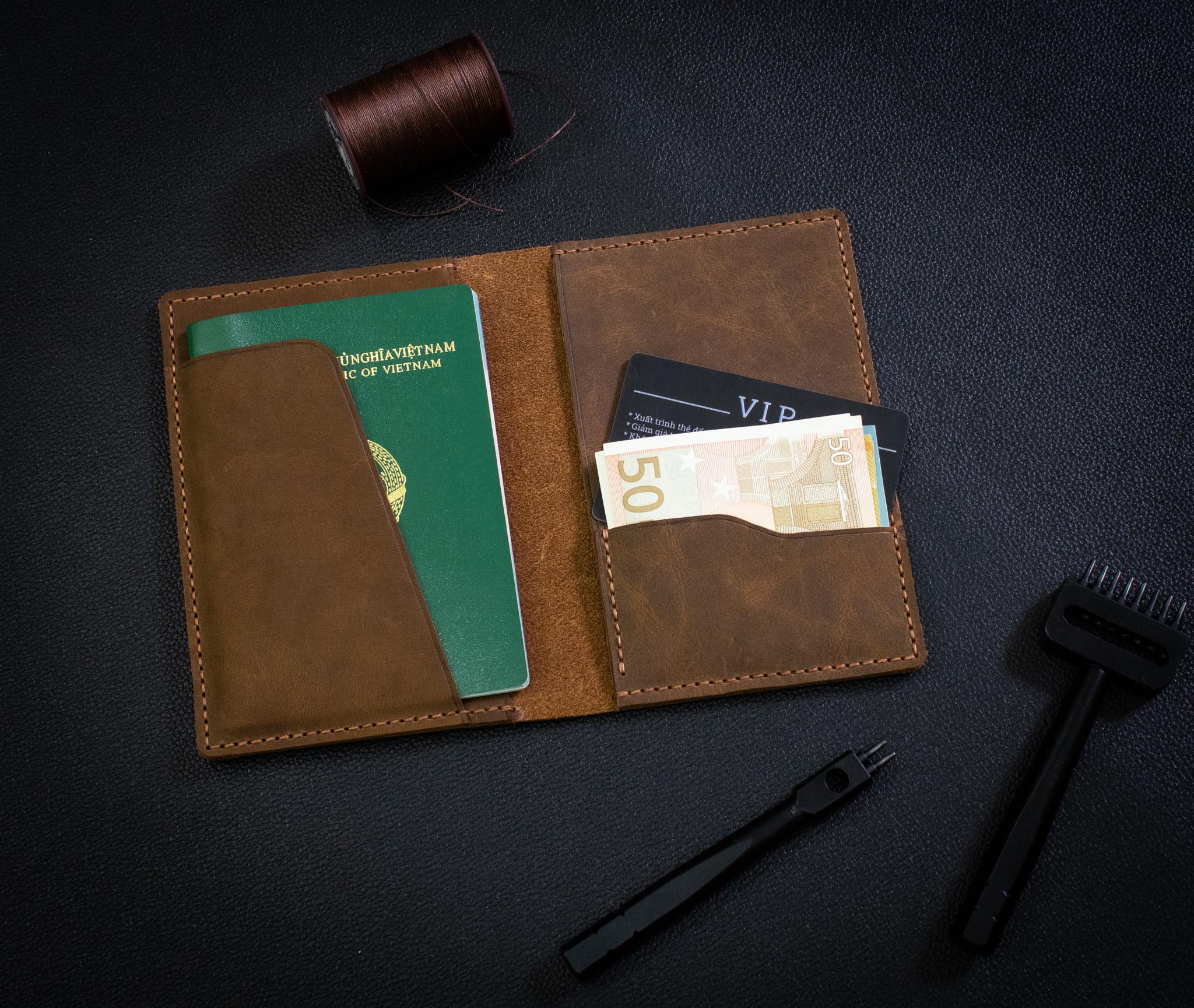 Bao Da Đựng Passport Khâu Tay Thủ Công HST2-3