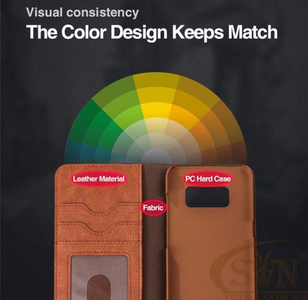 Ốp lưng Note 8 kiêm ví cầm tay 2 trong 1 cho Samsung Galaxy Note 8 Brown