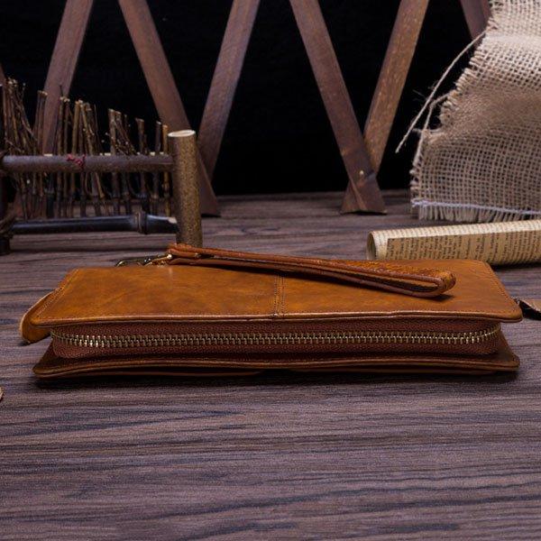 Clutch Nam Handmade Da Bò Nhập Italy Vàng Chanh C507
