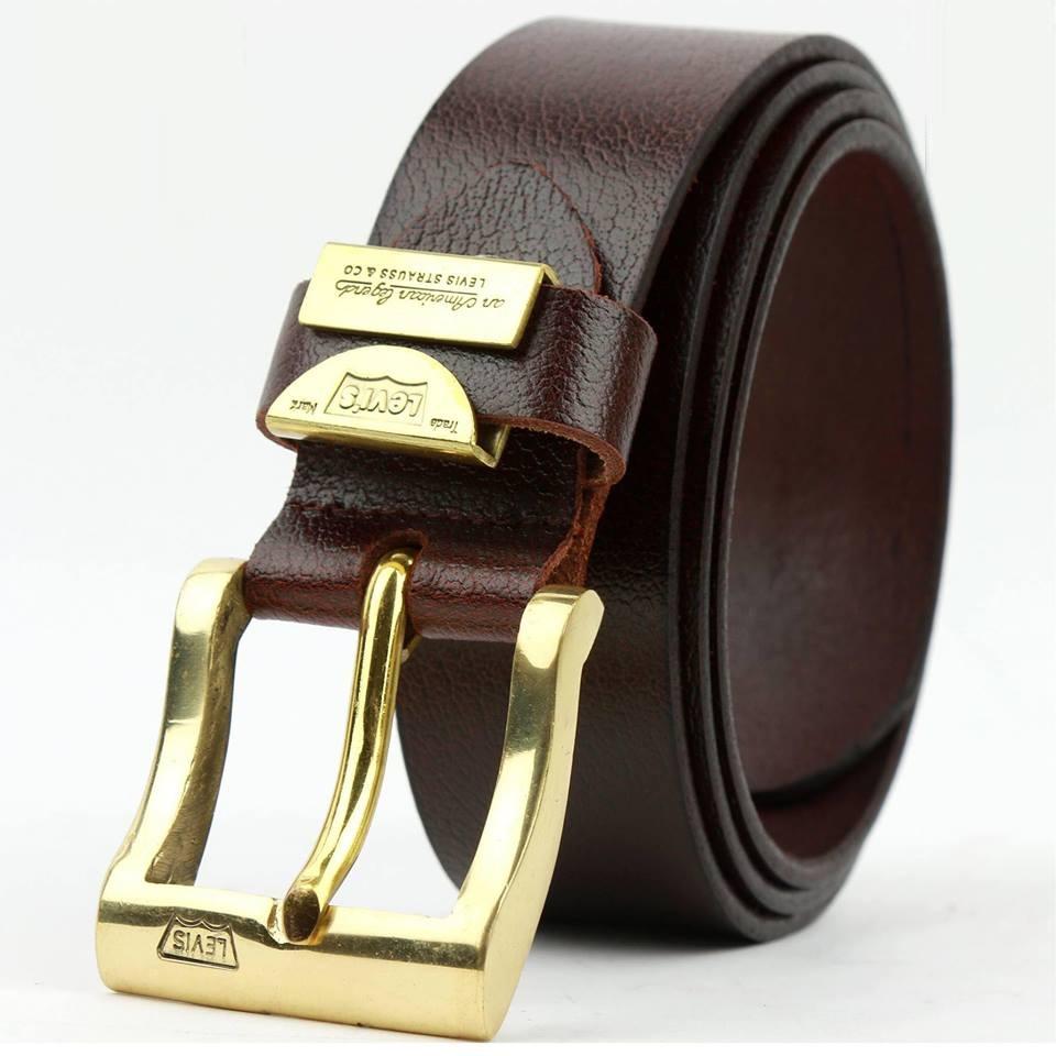 thắt lưng nam da bò nguyên miếng khóa đồng đúc nguyên khối