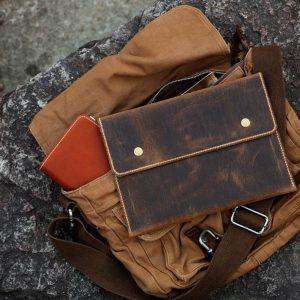 Túi đựng iPad cầm tay da thật nhập khẩu TIC9