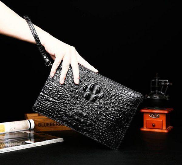 Túi Da, Túi Đựng iPad Cầm Tay, Túi Kẹp Phong Bì Đi Chúc Tết Sếp Vân Cá Sấu SIS9