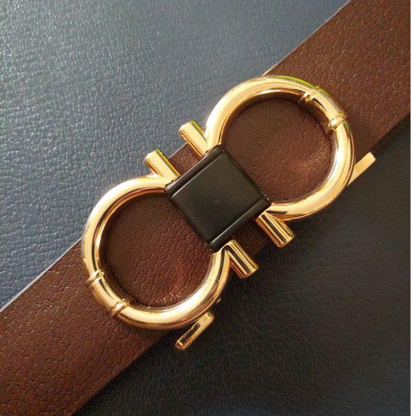 Thắt Lưng Nam Da Bò Thời Trang Mặt Khóa Số 8 Gold Titan Cao Cấp
