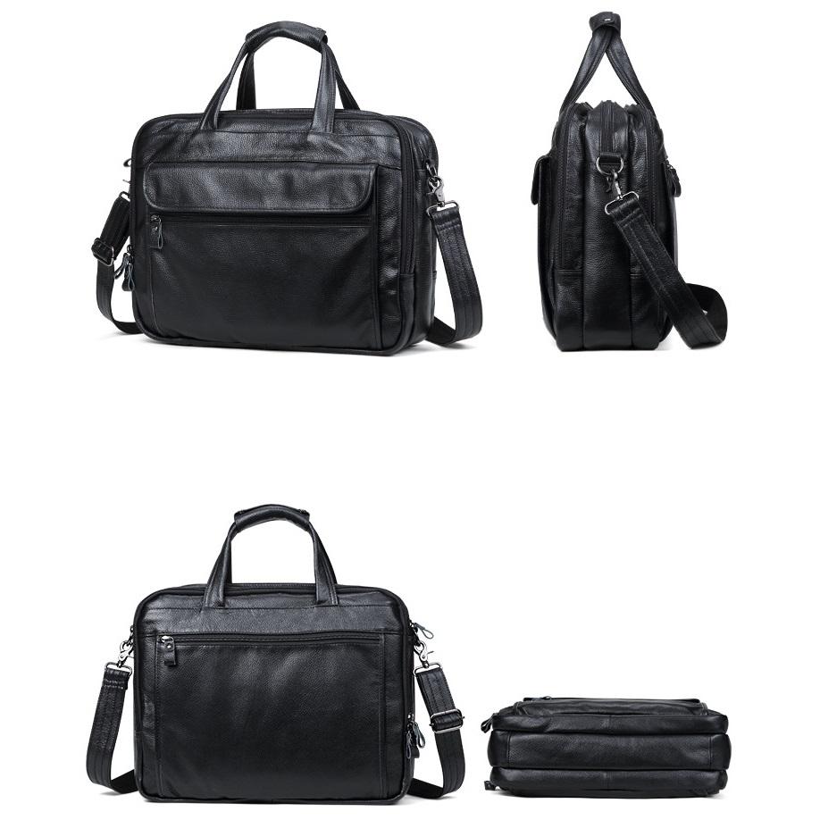 Túi Xách Nam Đựng Laptop 15.6inch Da Bò Thật Hàng Hiệu STX76 Black-5