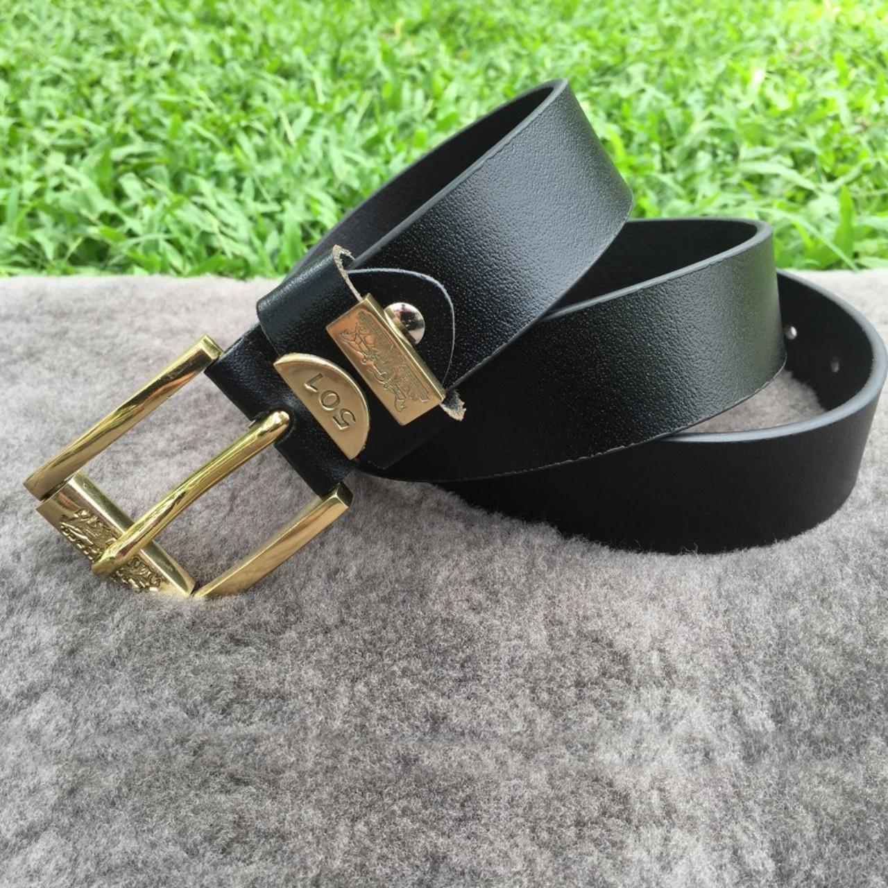 Thắt Lưng Nam Da Bò Thật Khóa Đồng Handmade 501 Black-1