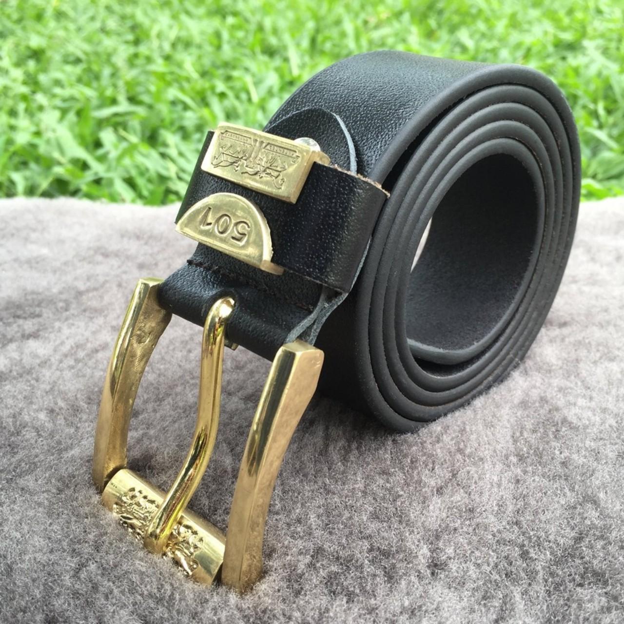 Thắt Lưng Nam Da Bò Thật Khóa Đồng Handmade 501 Black