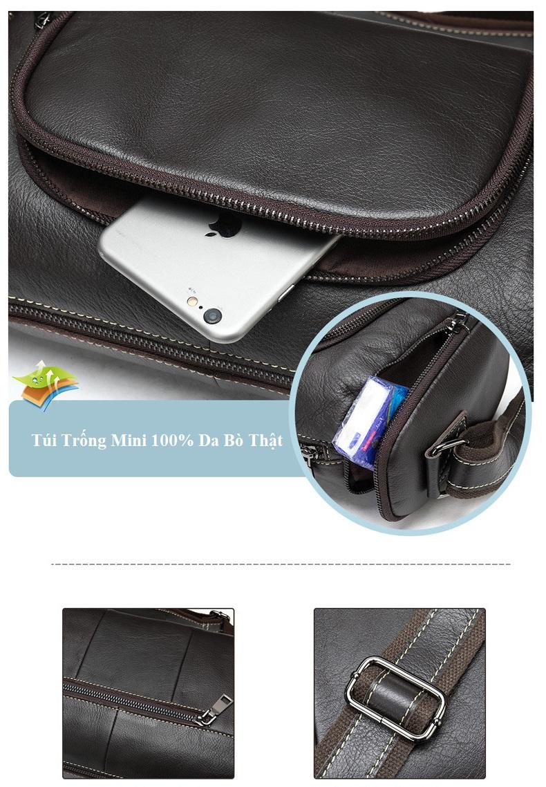Túi Trống Zip Mini Da Bò Đựng iPad Thật Phong Cách Thời Trang Arrival-7